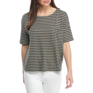 Eileen Fisher Olive Green Striped Boxy Tee Top